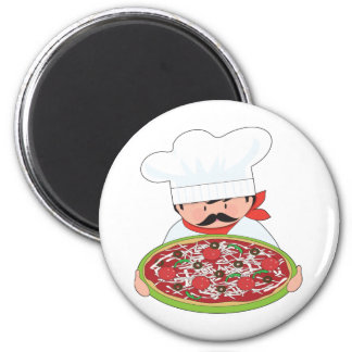 Chef and Pizza 2 Inch Round Magnet