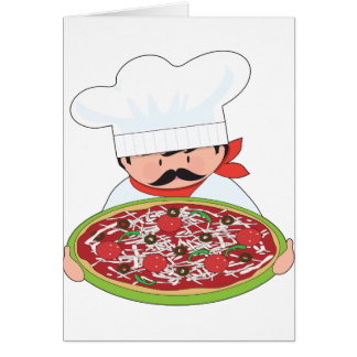 Chef and Pizza Card