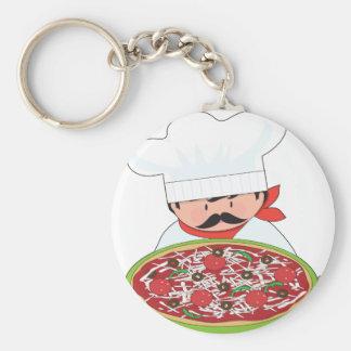 Chef and Pizza Keychain