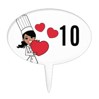 Chef Baker Cook Cute Girl Illustration Cake Toppers