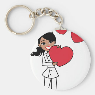 Chef Baker Cook Cute Girl Illustration Basic Round Button Keychain