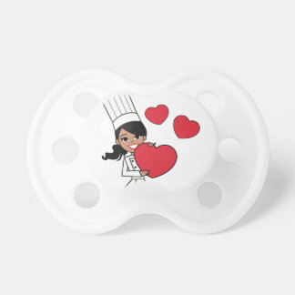 Chef Baker Cook Cute Girl Illustration Pacifier