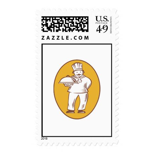 Chef Baker Cook With Platter Stamps