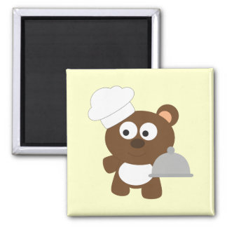 Chef Bear 2 Inch Square Magnet
