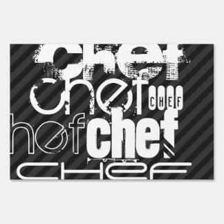 Chef; Black & Dark Gray Stripes Lawn Sign