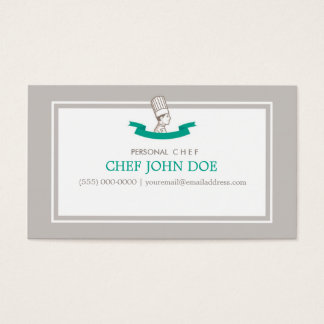 Chef Business Card in Gray and Emerald Green
