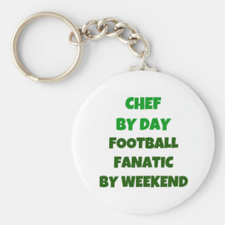 Chef by Day Football Fanatic by Weekend Basic Round Button Keychain
