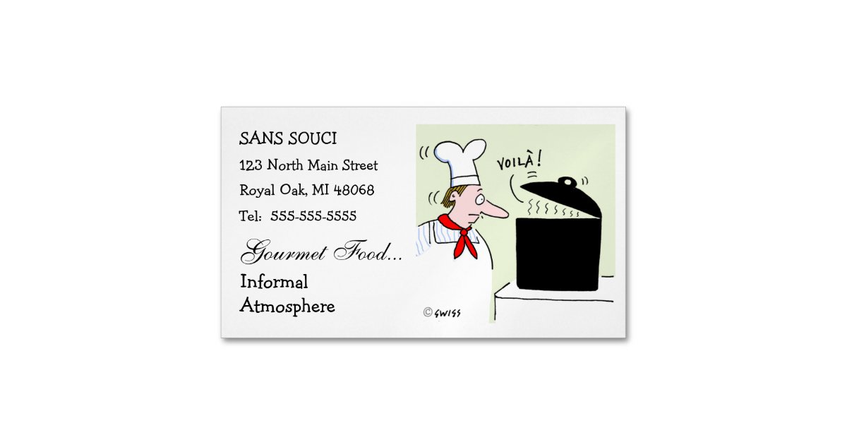 Chef Cartoon Cute Funny Restaurant Catering Business Card Magnet ...