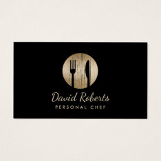 Chef Catering Restaurant Elegant Black & Gold Business Card at Zazzle