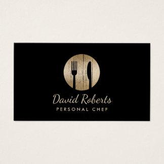 Chef Catering Restaurant Elegant Black & Gold Business Card