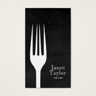 Chef Catering Restaurant Food Fork Logo Chalkboard Business Card