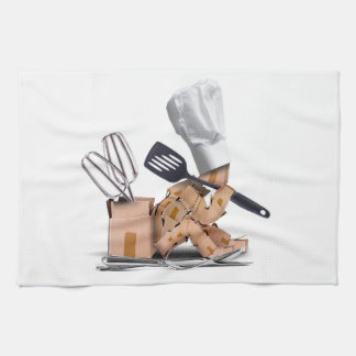 Chef character sat thinking with kitchen tools kitchen towel