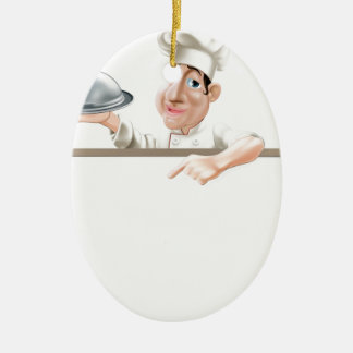 Chef cloche and menu Double-Sided oval ceramic christmas ornament