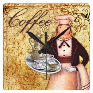 Chef Coffee Square Wallclocks