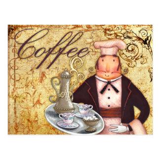 Chef Coffee Postcard