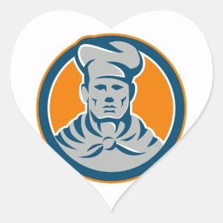 Chef Cook Baker Hat Circle Retro Heart Sticker