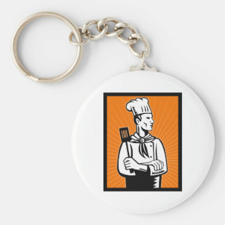 Chef cook baker holding spatula basic round button keychain