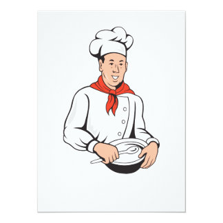 Chef Cook Baker Mixing Bowl Cartoon Personalized Announcement