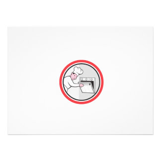 Chef Cook Baker Opening Oven Circle Cartoon Personalised Invites