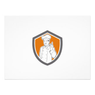 Chef Cook Baker Pointing Up Shield Personalized Invite