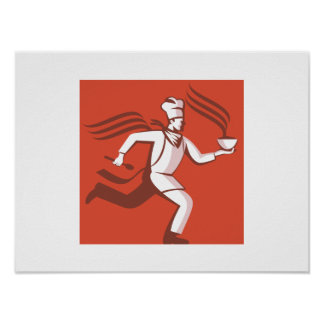 Chef Cook Baker Running With Soup Bowl Poster