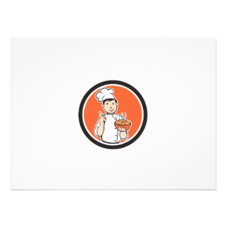 Chef Cook Carrying Bowl Circle Cartoon Invite