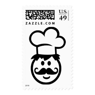 Chef cook face postage stamp