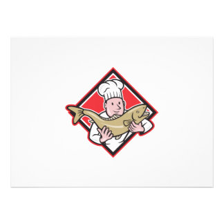 Chef Cook Handling Salmon Trout Fish Cartoon Personalized Announcement