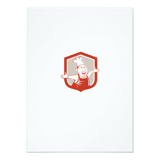 Chef Cook Happy Arms Out Shield Cartoon Personalized Invitations