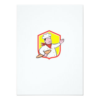 Chef Cook Holding Baguette Shield Cartoon Invite