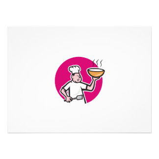 Chef Cook Holding Bowl Oval Cartoon Custom Announcement
