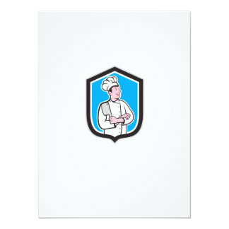 Chef Cook Holding Knife Arms Crossed Cartoon Personalized Announcements