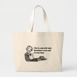 Chef & Cook Humor - Cooking with Wine Jumbo Tote Bag