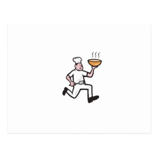 Chef Cook Running Holding Bowl Cartoon Post Card