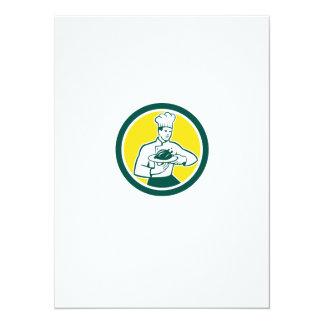 Chef Cook Serving Chicken Platter Circle Retro Personalised Invitation