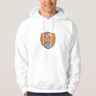 Chef Cook Shield Retro Hooded Sweatshirt