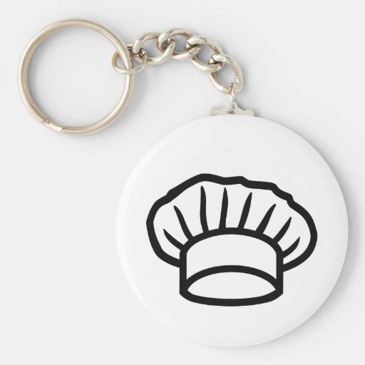 Chef cooking hat basic round button keychain