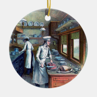 Chef Cooking in the Kitchen - Vintage - Ornament