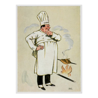 Chef Cooking Over an Open Fire Poster