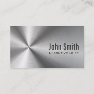 Cool chef business cards zazzle chef cool stainless steel metal business card reheart Image collections