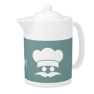 Chef custom color & monogram tea pots teapot