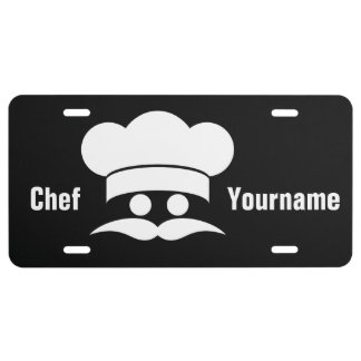 Chef custom color & text license plate
