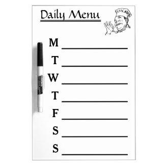 Chef Daily Menu Weekly Menu calendar Dry-Erase Board