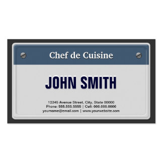 Chef de Cuisine Cool Car License Plate Double-Sided Standard Business Cards (Pack Of 100)