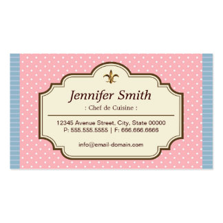 Chef de Cuisine - Cute Polka Dots Double-Sided Standard Business Cards (Pack Of 100)