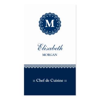 Chef de Cuisine Elegant Blue Lace Monogram Double-Sided Standard Business Cards (Pack Of 100)