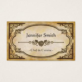 Chef de Cuisine - Elegant Vintage Antique Business Card
