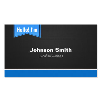 Chef de Cuisine - Hello Contact Me Double-Sided Standard Business Cards (Pack Of 100)