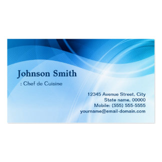 Chef de Cuisine - Modern Blue Creative Double-Sided Standard Business Cards (Pack Of 100)
