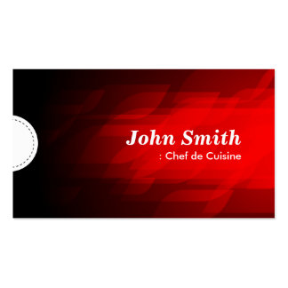 Chef de Cuisine - Modern Dark Red Double-Sided Standard Business Cards (Pack Of 100)